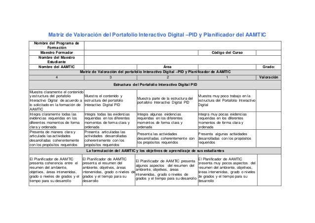 Matriz de Valoración del Portafolio Interactivo Digital –PID y Planificador del AAMTIC Nombre del Programa de Formación Ma...