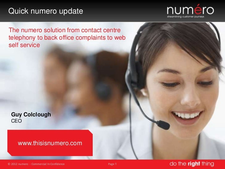 numero Executive Summary Update 2012 by Guy Colclough (CEO)