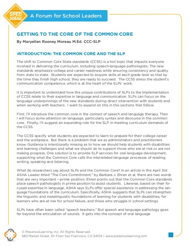 "Getting To The ""Core"" of The Common Core"