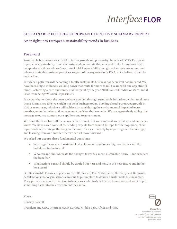 SUSTAINABLE FUTURES EUROPEAN EXECUTIVE SUMMARY REPORTAn insight into European sustainability trends in businessForewordSus...