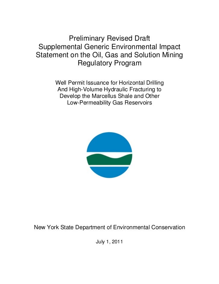 Preliminary Revised Draft Supplemental Generic Environmental ImpactStatement on the Oil, Gas and Solution Mining          ...