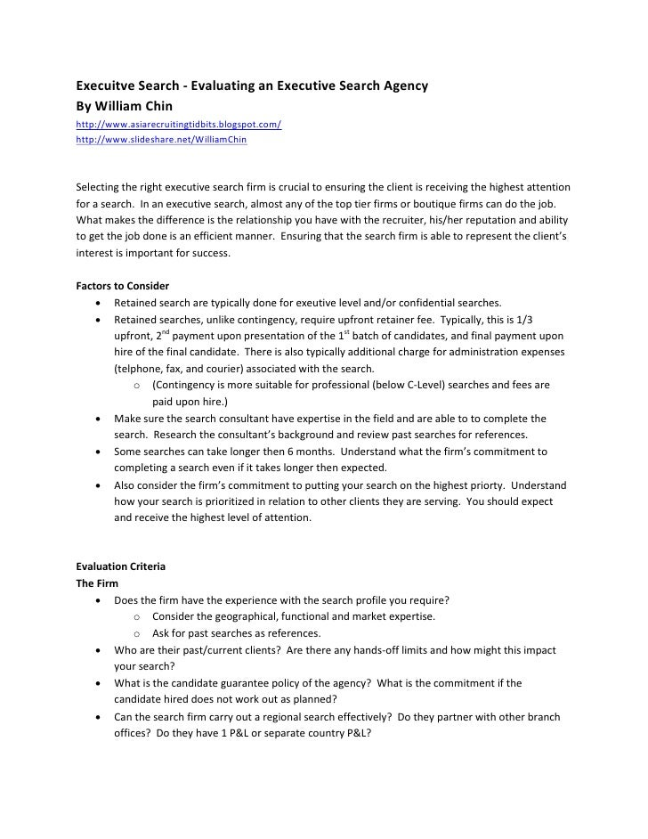 Execuitve Search - Evaluating an Executive Search Agency By William Chin http://www.asiarecruitingtidbits.blogspot.com/ ht...