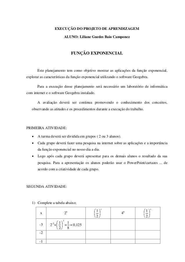 EXECUÇÃO DO PROJETO DE APRENDIZAGEM                             ALUNO: Liliane Guedes Baio Camponez                       ...