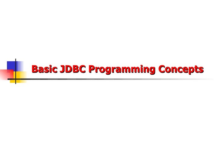Basic JDBC Programming Concepts