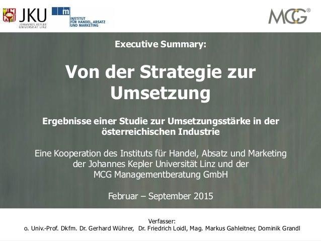 1 www.mcg-experts.com office@mcg-experts.comMCG Management Contracting Group Executive Summary: Von der Strategie zur Umse...