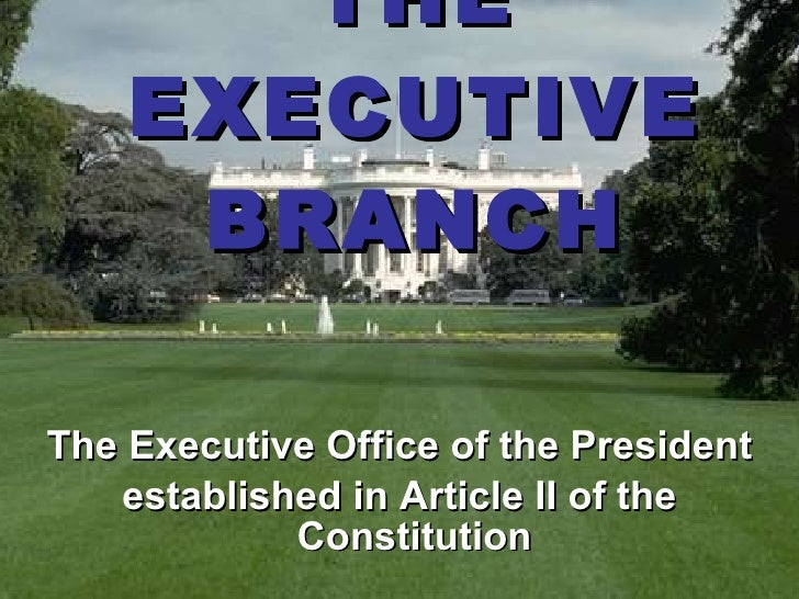 THE EXECUTIVE BRANCH <ul><li>The Executive Office of the President </li></ul><ul><li>established in Article II of the Cons...
