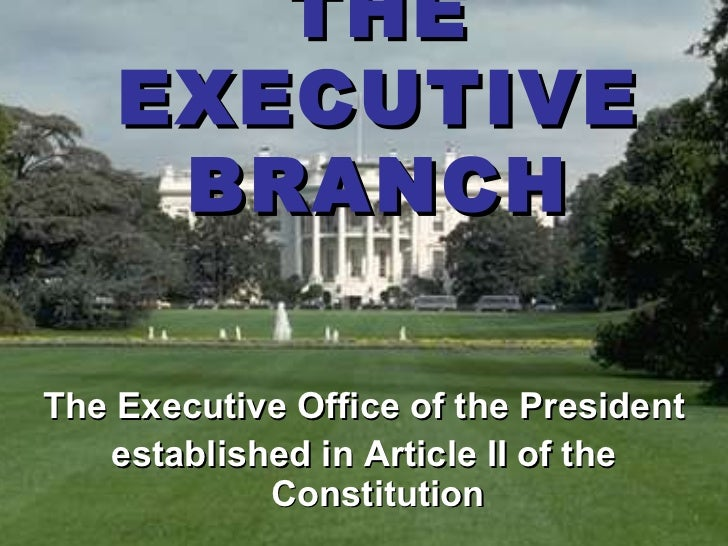 THE    EXECUTIVE     BRANCHThe Executive Office of the President   established in Article II of the            Constitution