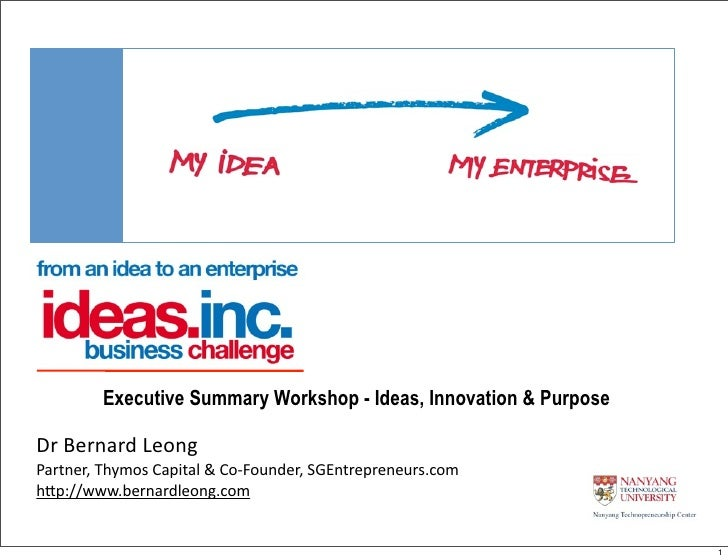 Executive Summary Workshop Ideas Inc