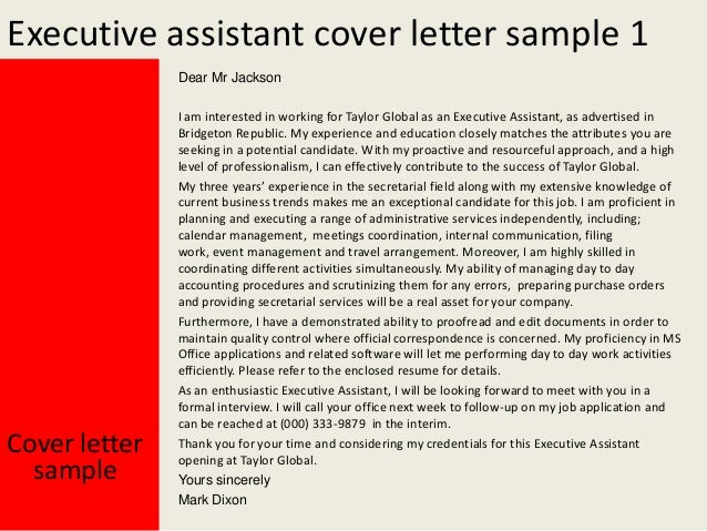 cover letter for executive assistant executive assistant cover letter