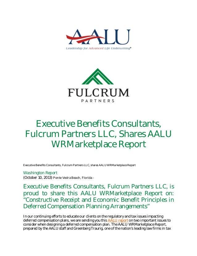 Executive Benefits Consultants, Fulcrum Partners LLC, Shares AALU WRMarketplace Report Executive Benefits Consultants, Ful...