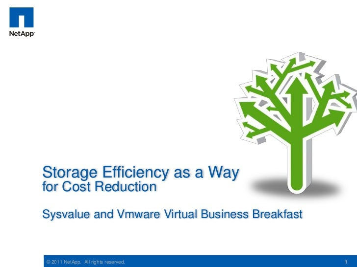 Storage Efficiency as a Wayfor Cost ReductionSysvalue and Vmware Virtual Business Breakfast© 2011 NetApp. All rights reser...