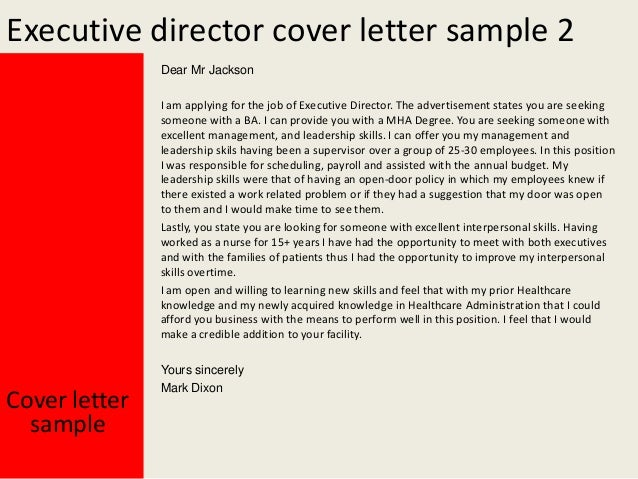 cover letter executive director This free cover letter sample for an executive-level manager is provided by careerperfectcom, a leader in professional resume writing services with 35+ years.