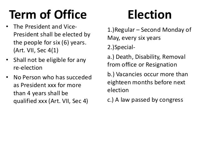 article 7 executive department section 5 Article 2: the executive branch section 1: ___president and vice president_____ clause 1: _____term_____ the president is responsible for _____executing_____, or.