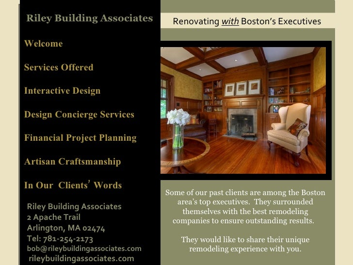 Renovating  with  Boston's Executives Riley Building Associates Welcome Services Offered Interactive Design  Design Concie...