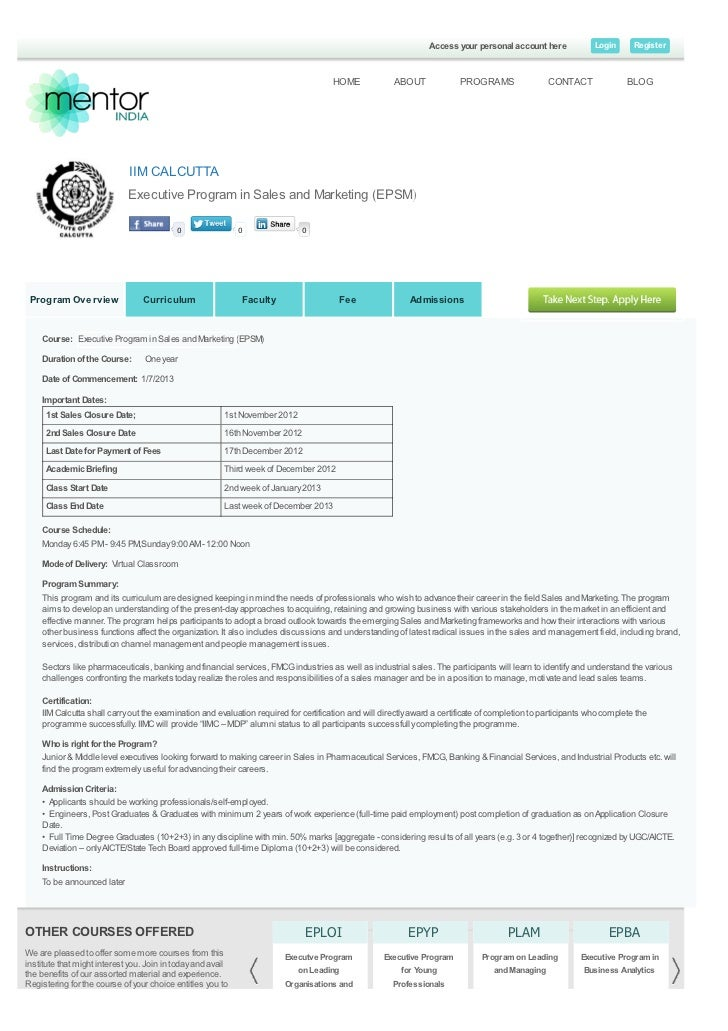 executive program in sales and marketing epsm   iim calcutta