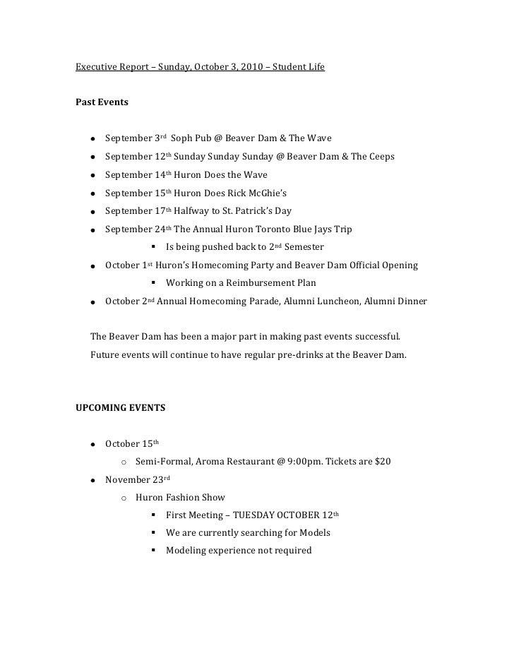 Student Life Executive Report, October 2010