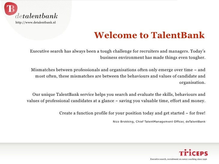 Executive search and recruitment of pre-screened professionals Talentbank employers presentation
