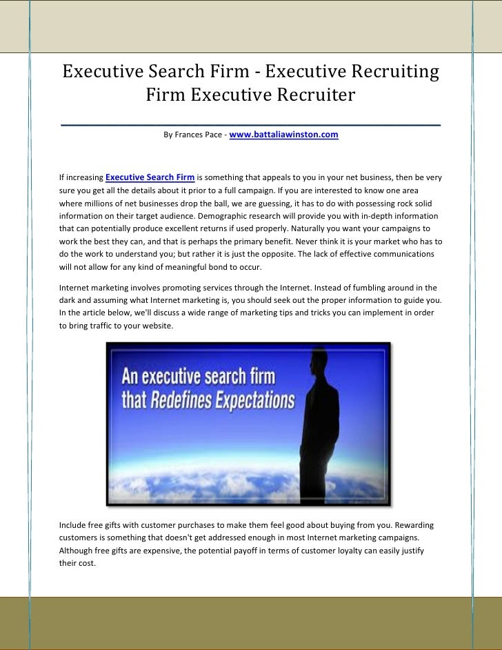 Executive Search Firm - Executive Recruiting            Firm Executive Recruiter__________________________________________...
