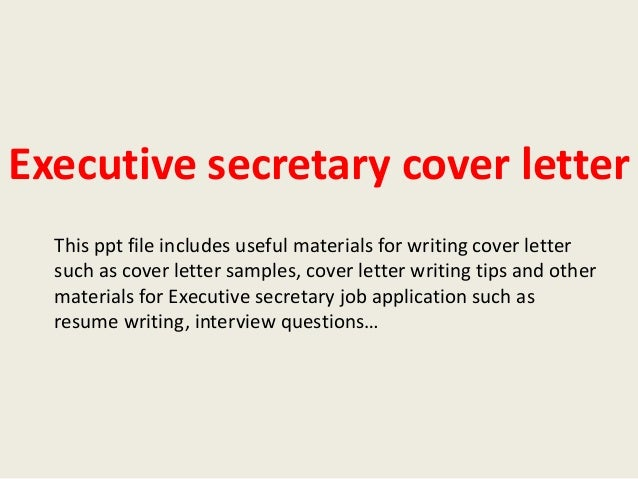 Cover Letter For Executive Secretary Position