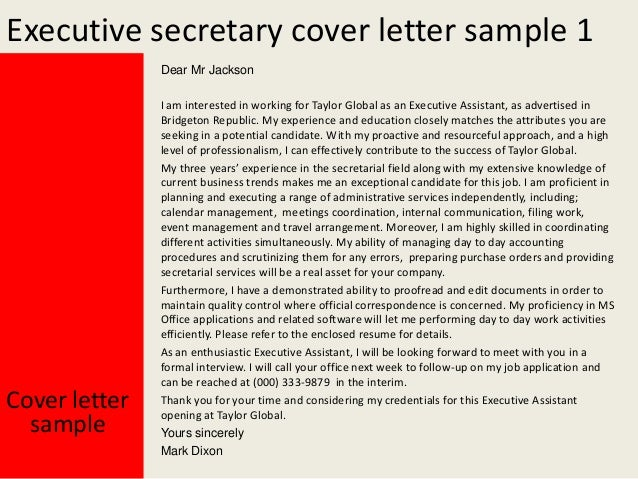 Cover letter for the post of executive secretary