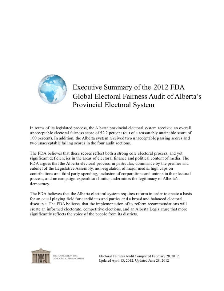 Alberta-- Executive Summary  of the 2012 FDA Electoral Fairness Audit Report