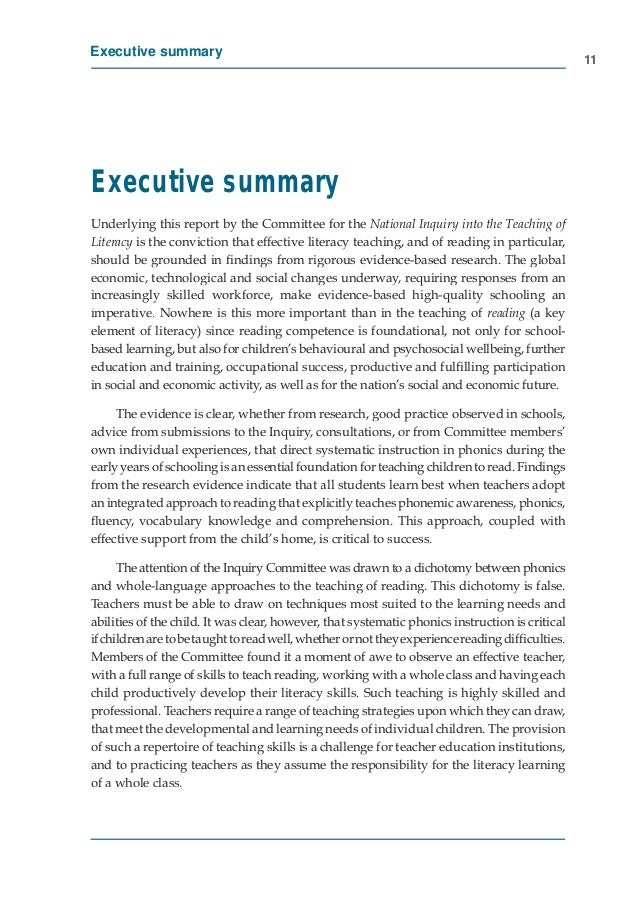 Executive Summary - Inquiry into the Teaching of Literacy, Australia