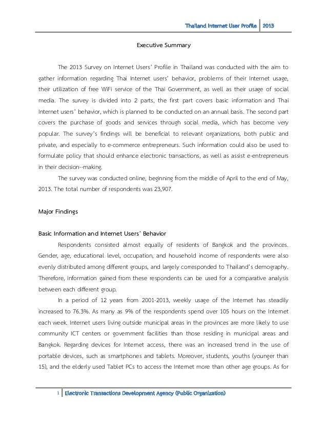 Thailand Internet User Profile 2013 Executive Summary