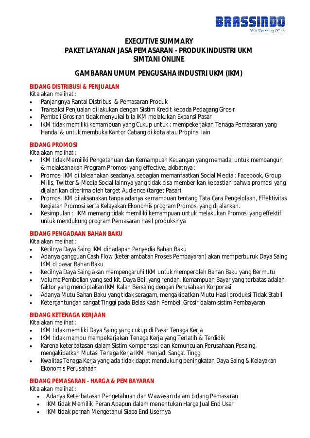 executive summary jasa layanan pemasaran industri ukm
