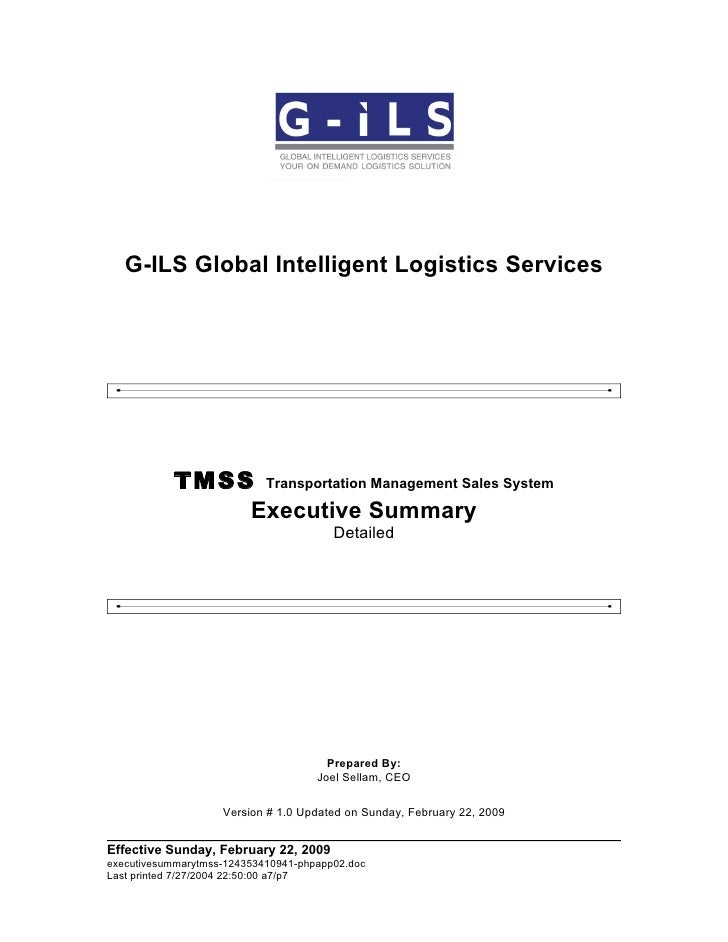 G-ILS Global Intelligent Logistics Services                TMSS Transportation Management Sales System                Exec...
