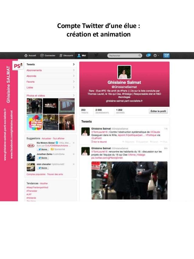 Compte Twitter d'une élue : création et animation