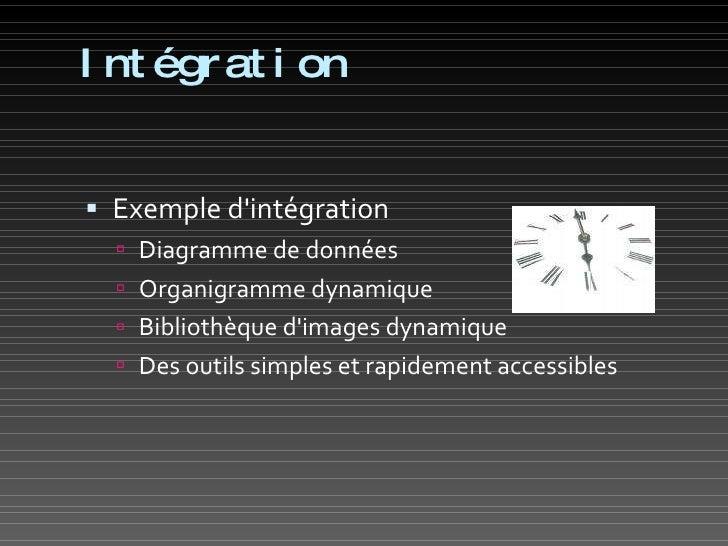 Intégration <ul><li>Exemple d'intégration </li></ul><ul><ul><li>Diagramme de données </li></ul></ul><ul><ul><li>Organigram...