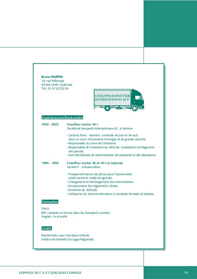 exemple de cv conducteur routier