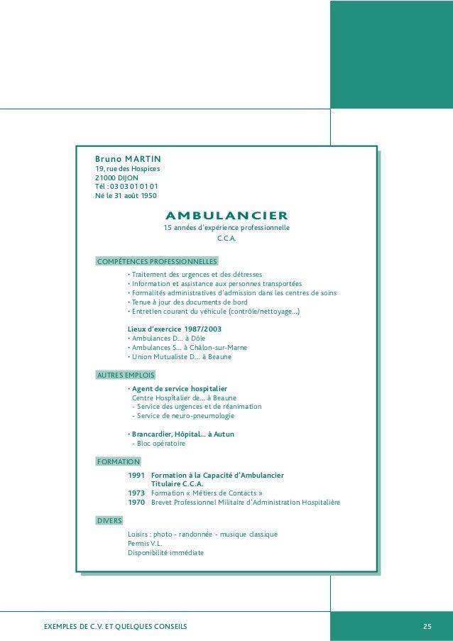 modele cv auxiliaire ambulancier