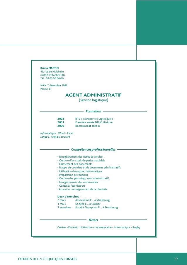 cv d agent administratif