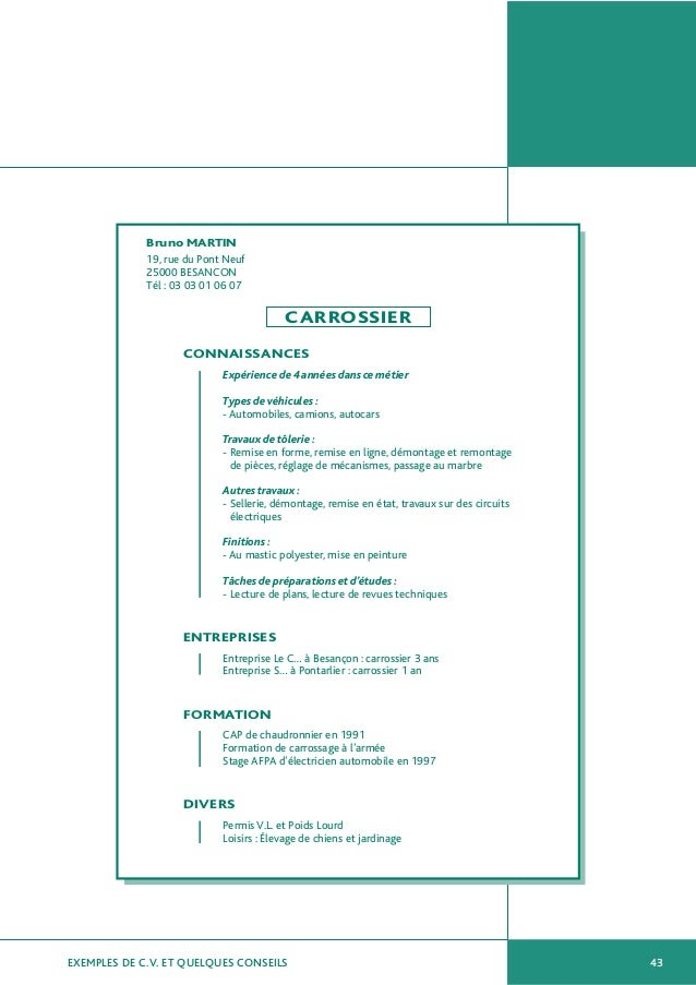 exemple de cv au nb