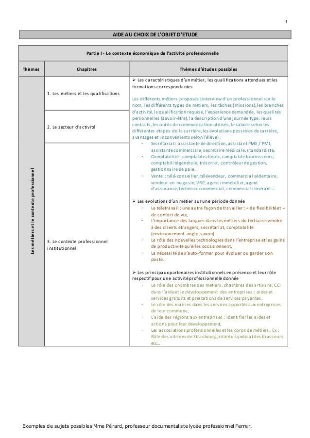 1  AIDE AU CHOIX DE L'OBJET D'ETUDE  Partie I - Le contexte économique de l'activité professionnelle  Thèmes Chapitres Thè...