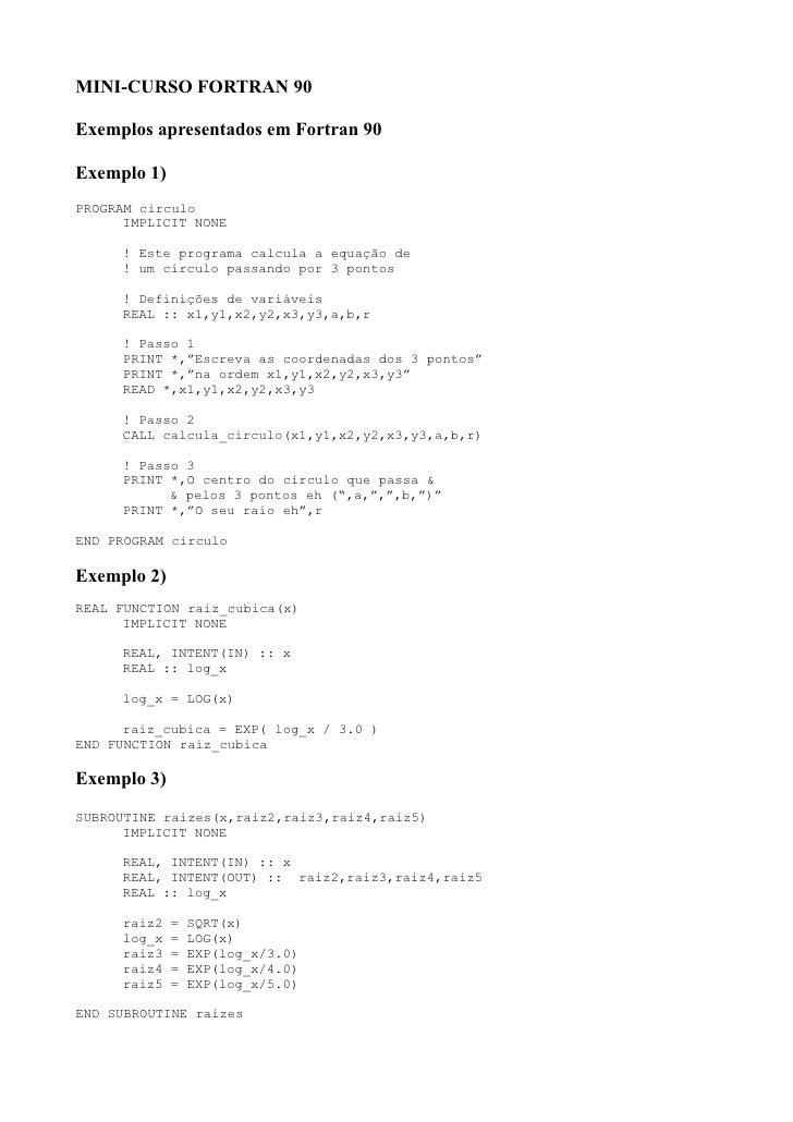 FORTRAN 90 - Exemplosf90