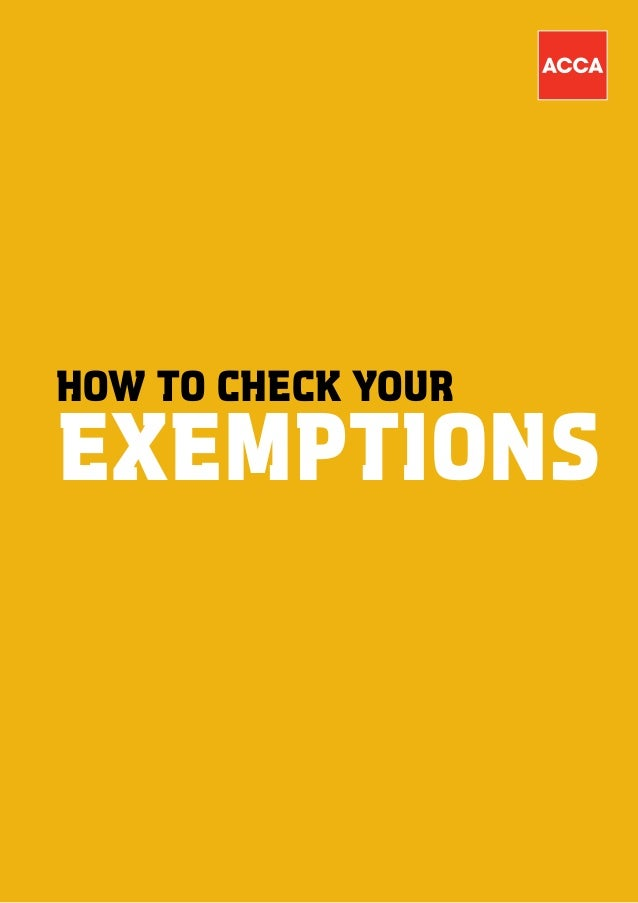 Exempt user guide ACCA