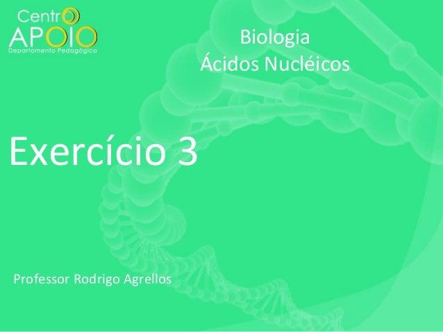 Biologia Ácidos Nucléicos  Exercício 3 Professor Rodrigo Agrellos