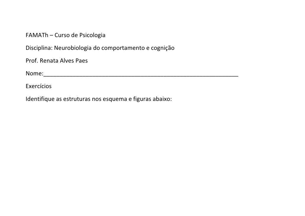 FAMATh – Curso de PsicologiaDisciplina: Neurobiologia do comportamento e cogniçãoProf. Renata Alves PaesNome:_____________...