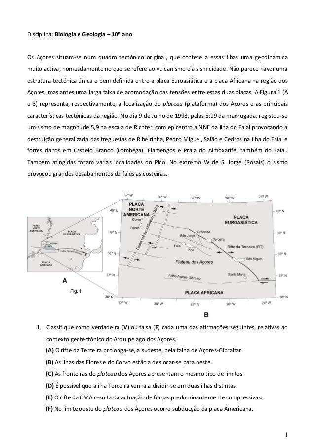 Disciplina: Biologia e Geologia – 10º ano Os Açores situam-se num quadro tectónico original, que confere a essas ilhas uma...
