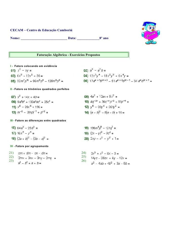 CECAM – Centro de Educação Camboriú  Nome: ___________________________ Data: _____________8º ano                       Fat...
