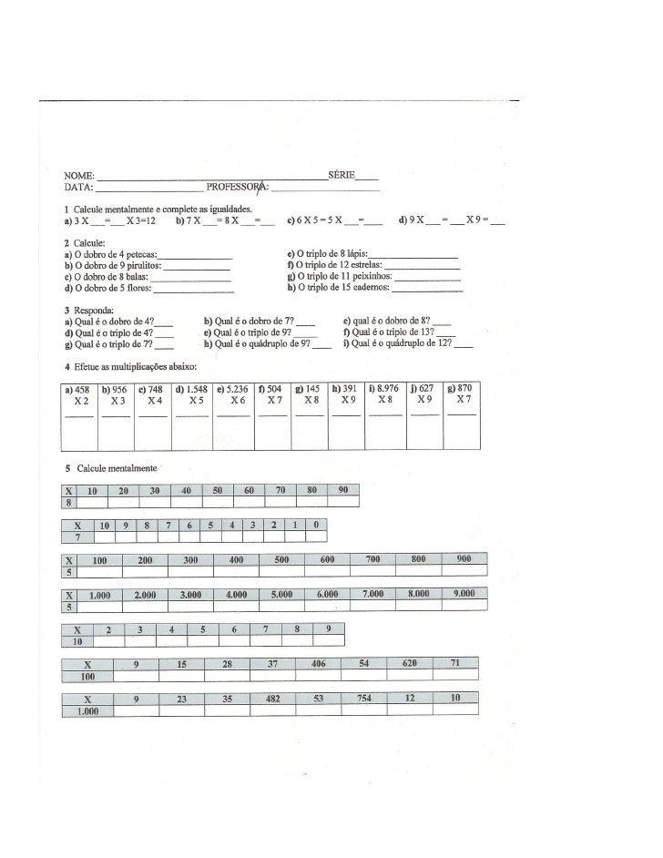 Exercícios multiplicação