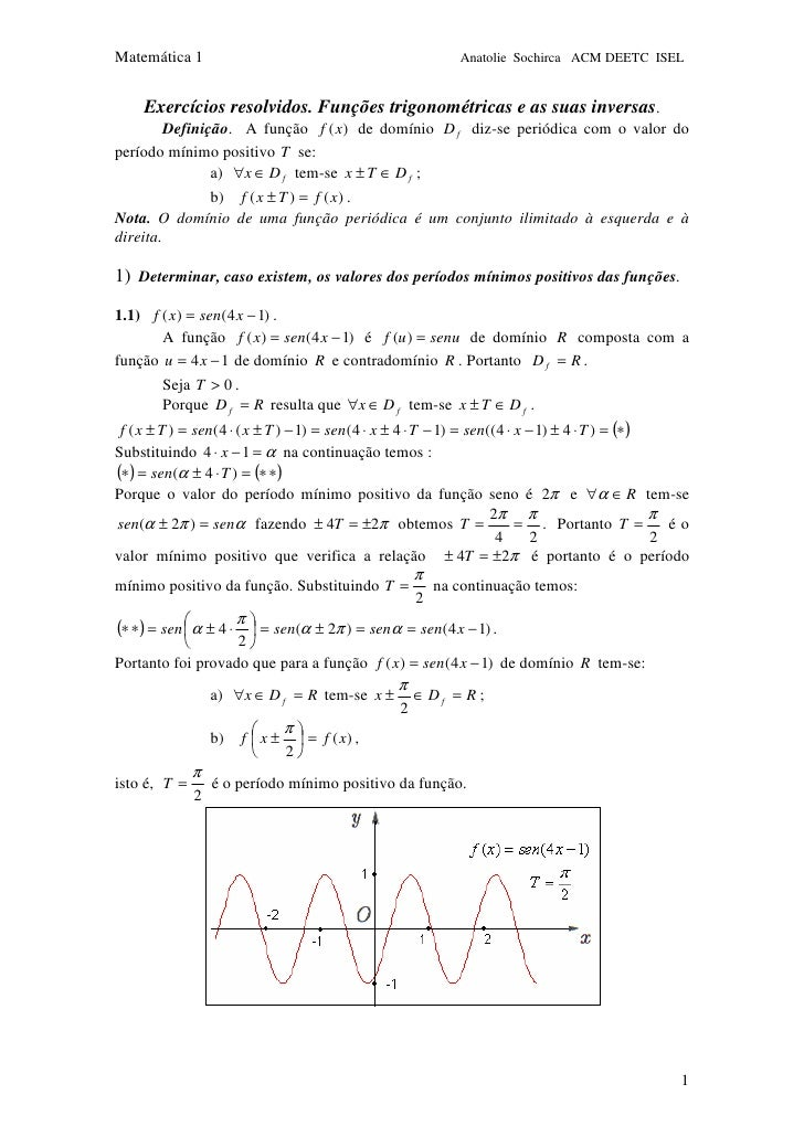 Matemática 1                                                 Anatolie Sochirca ACM DEETC ISEL        Exercícios resolvidos...