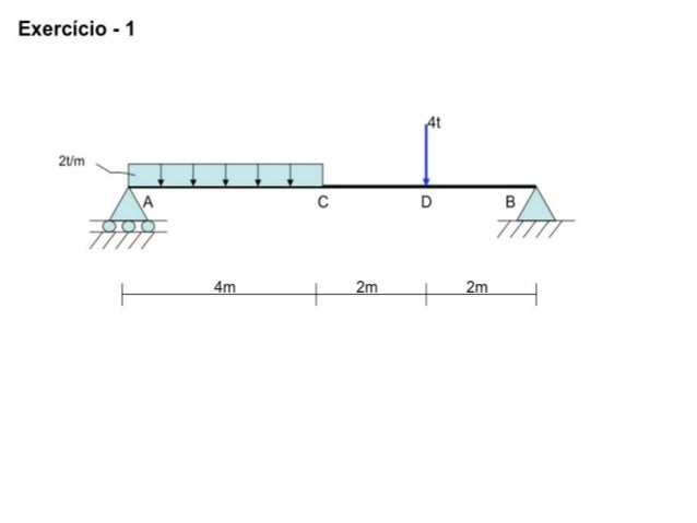 2t/m A BDC 4t 2m4m 2m VBVA HB ∑ Hi = 0 → HB = 0 ∑ Vi = 0 → VA+VB = 8t+4t → VA+VB=12t 7t + VB = 12t → VB = 12t - 7t → VB = ...