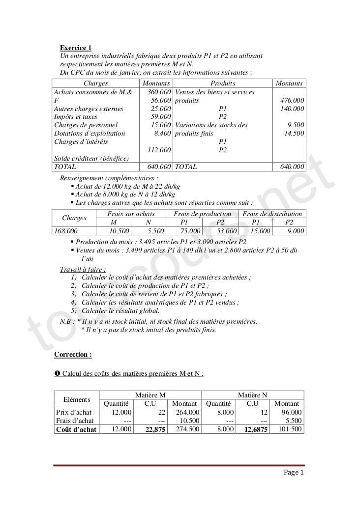 Exercice corrige comptabilite analytique