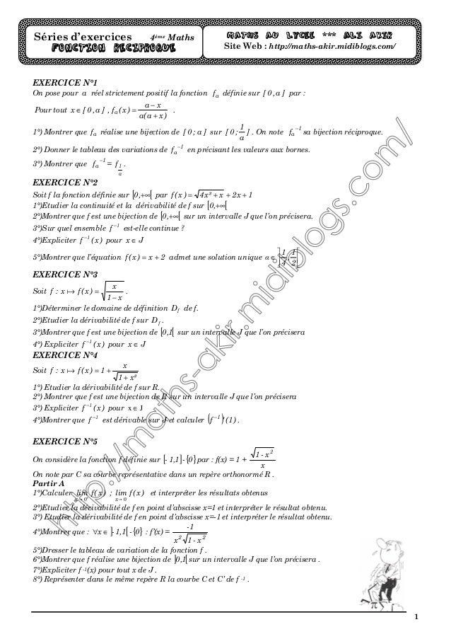 1 EXERCICE N°1 On pose pour a réel strictement positif la fonction af définie sur ]a,0[ par : Pour tout )xa(a xa )x(f,]a,0...
