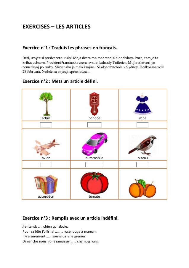 EXERCISES – LES ARTICLESExercice n°1 : Traduis les phrases en français.Deti, umyte si predvecerouruky! Moja dcera ma modre...