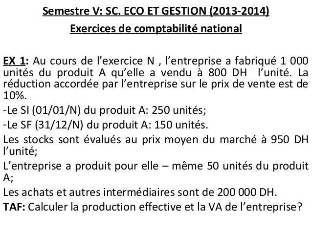 Semestre V: SC. ECO ET GESTION (2013-2014) Exercices de comptabilité national EX 1: Au cours de l'exercice N , l'entrepris...