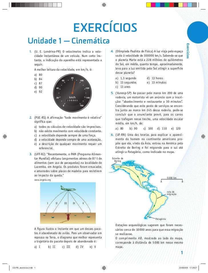 EXERCÍCIOS               Unidade 1 — Cinemática                                                                           ...